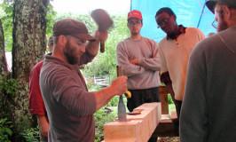 Jeremy leading timber frame workshop