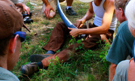 sharpening scythe at Katywil workshop