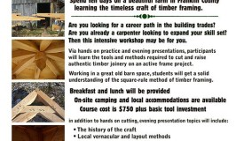 timberframe workshop May 16-25 in Charlemont