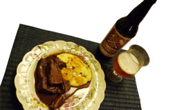 hearty Katywil winter dinner of pot roast and Stoneman Brewery beer