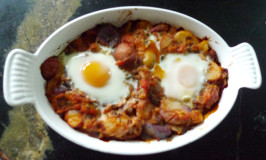 Indian-spiced tomato and egg casserole, another Katywil Farm recipe