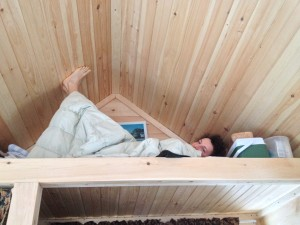 Joey in the tiny house at Stowe Farm