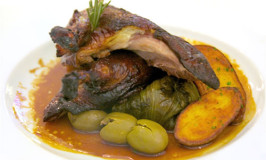 slow cooked duck with olives