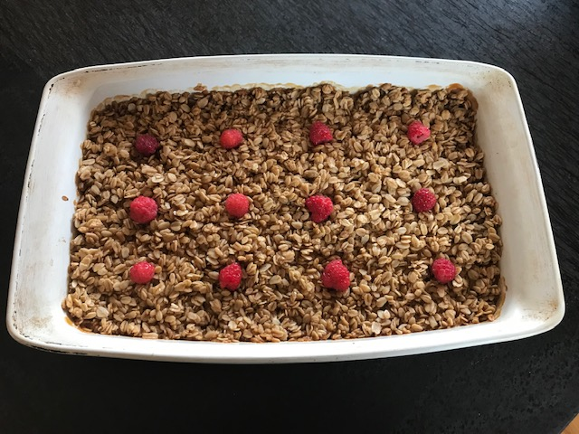 Emma's Raspberry & Peach Crisp from their Stowe Farm homegrown raspberries and peaches