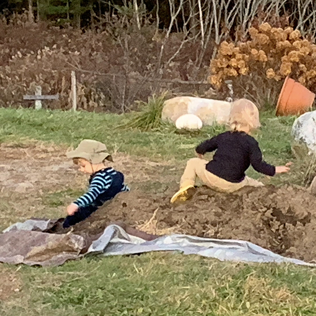 Stowe Farm kids playing in dirt