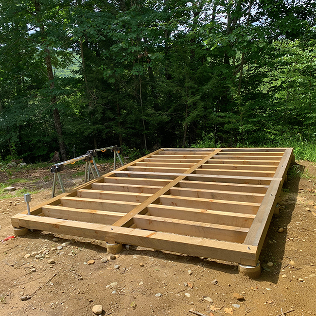 Beginning of Michael's post and beam shed