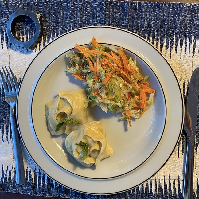 dumpling and salad