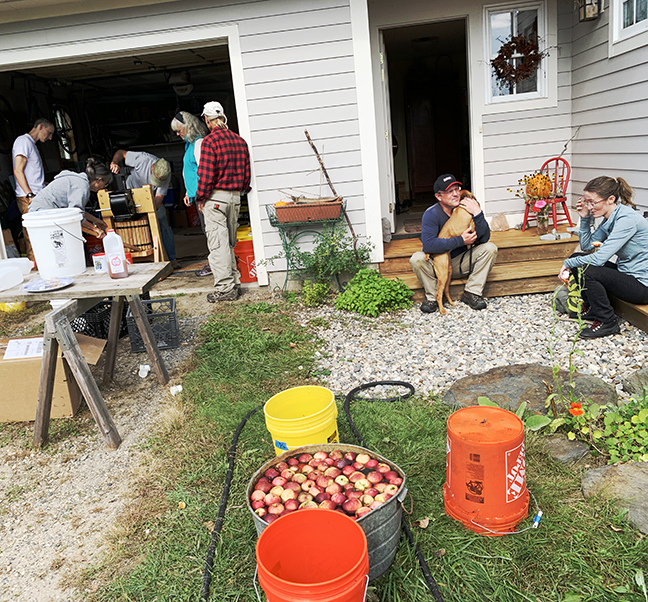 Cider pressing at Stowe Farm